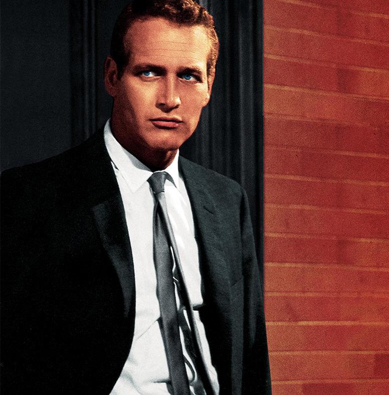 Paul Newman v čiernom obleku