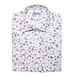 Biela Slim Fit košeľa s kvetinovým vzorom Alain Delon