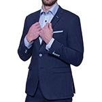 Šedo modrý Extra Slim Fit bavlnený oblek Alain Delon
