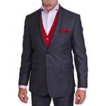 Šedý vlnený Regular Fit oblek Alain Delon